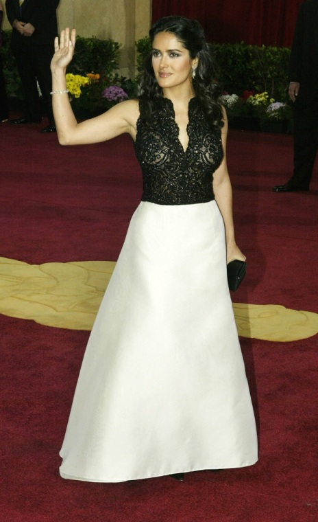 ACTRESS SALMA HAYEK ARRIVES AT 75TH ANNUAL ACADEMY AWARDS.